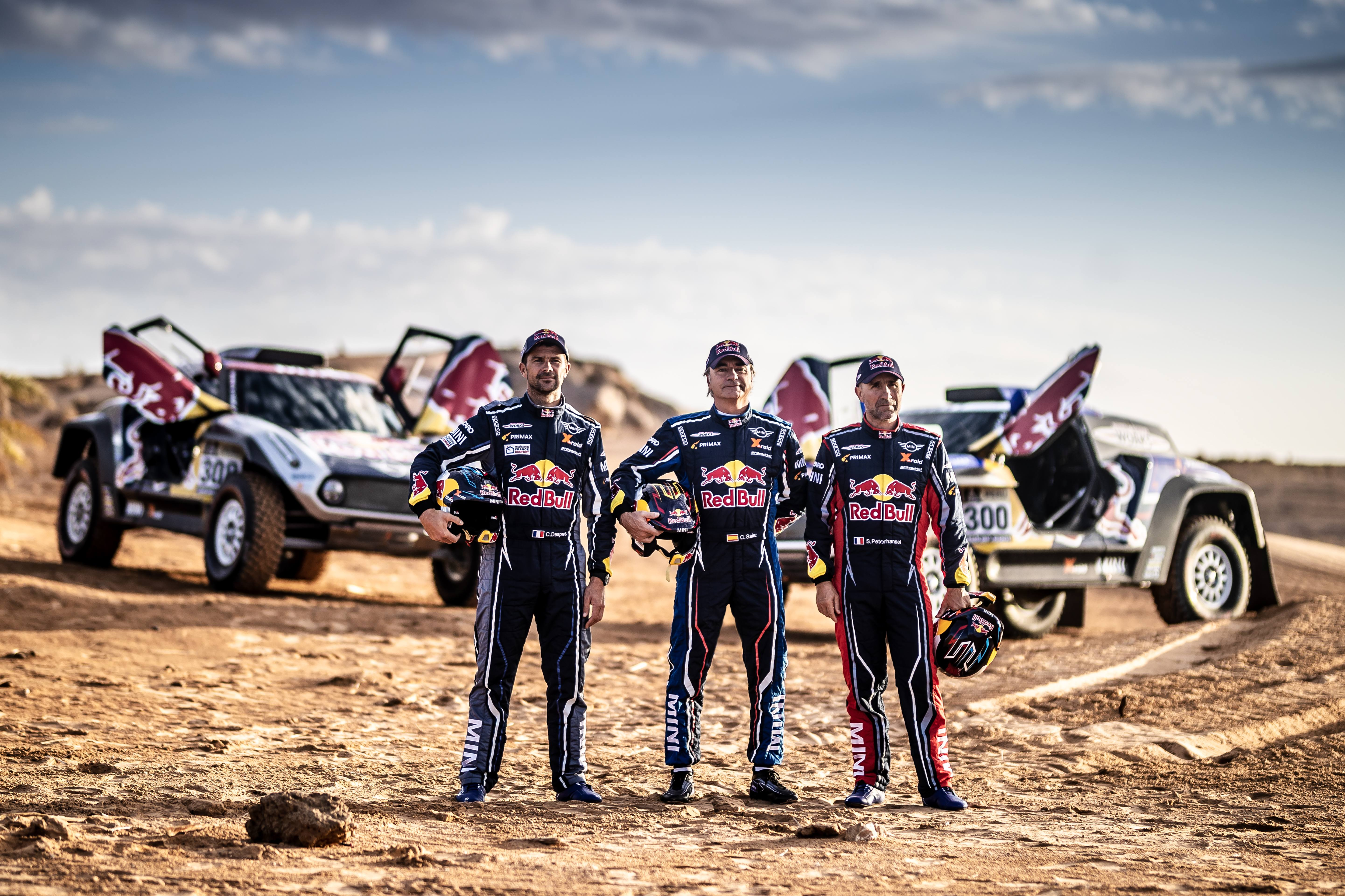 Sainz, Peterhansel and Despres in the Mini John Cooper Works Buggy